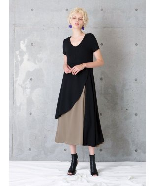 Asymmetry Bicolor Dress