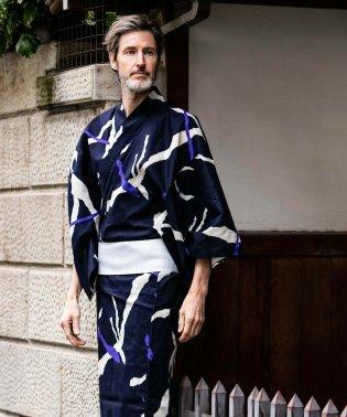 AKM Contemporary(エイケイエムコンテンポラリー) 破れ笹柄 浴衣&角帯2色SET