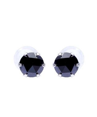 K18WG ブラックダイヤモンド 計0.2ct ローズカット 6本爪ピアス