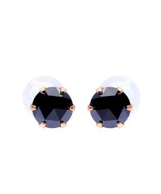 K18PG ブラックダイヤモンド 計0.2ct ローズカット 6本爪ピアス