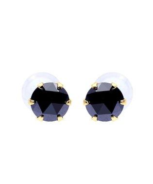 K18YG ブラックダイヤモンド 計0.2ct ローズカット 6本爪ピアス
