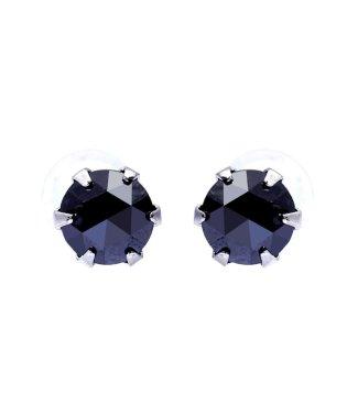 Pt900 ブラックダイヤモンド 計0.3ct ローズカット 6本爪プラチナピアス