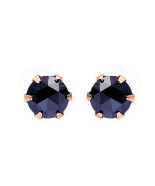 K18PG ブラックダイヤモンド 計0.3ct ローズカット 6本爪ピアス