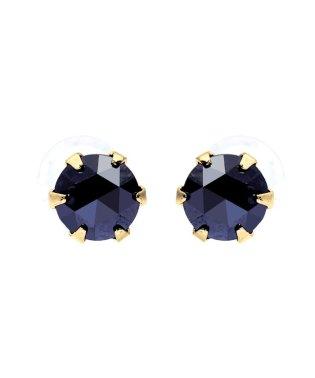 K18YG ブラックダイヤモンド 計0.3ct ローズカット 6本爪ピアス