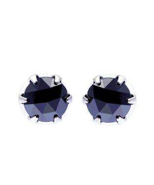 K18WG ブラックダイヤモンド 計0.5ct ローズカット 6本爪ピアス