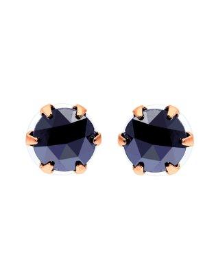 K18PG ブラックダイヤモンド 計0.5ct ローズカット 6本爪ピアス