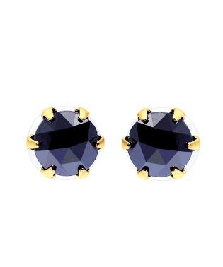 K18YG ブラックダイヤモンド 計0.5ct ローズカット 6本爪ピアス