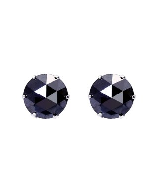 Pt900 ブラックダイヤモンド 計1ct ローズカット 6本爪プラチナピアス
