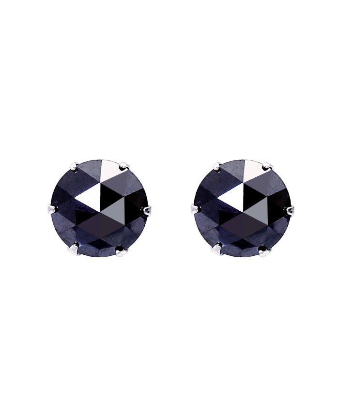 (JEWELRY SELECTION/ジュエリーセレクション)Pt900 ブラックダイヤモンド 計1ct ローズカット 6本爪プラチナピアス/レディース Pt900