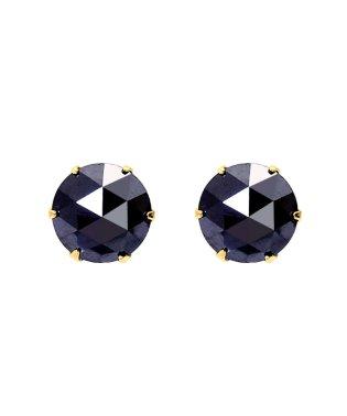 K18YG ブラックダイヤモンド 計1ct ローズカット 6本爪ピアス