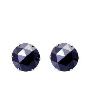 K18WG ブラックダイヤモンド 計2ct ローズカット 6本爪ピアス