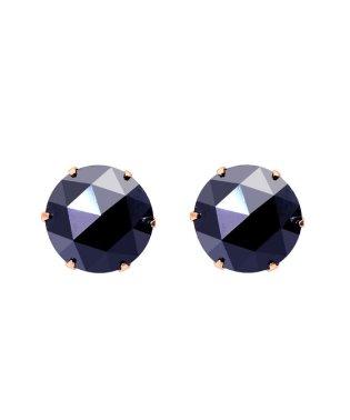 K18PG ブラックダイヤモンド 計2ct ローズカット 6本爪ピアス