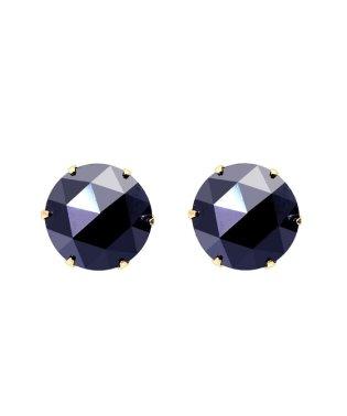 K18YG ブラックダイヤモンド 計2ct ローズカット 6本爪ピアス