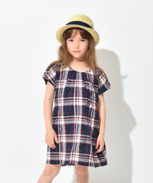 【プチプラ】チェック柄半袖ワンピース(90~150cm)