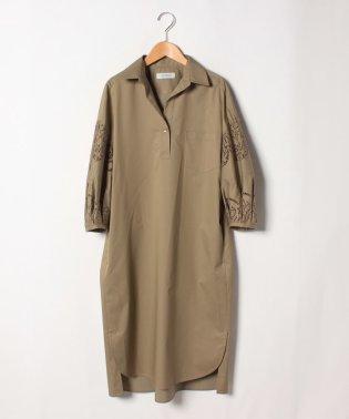 袖刺繍シャツワンピース