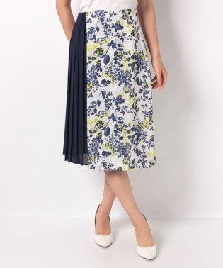 麻調合繊フラワープリントスカート