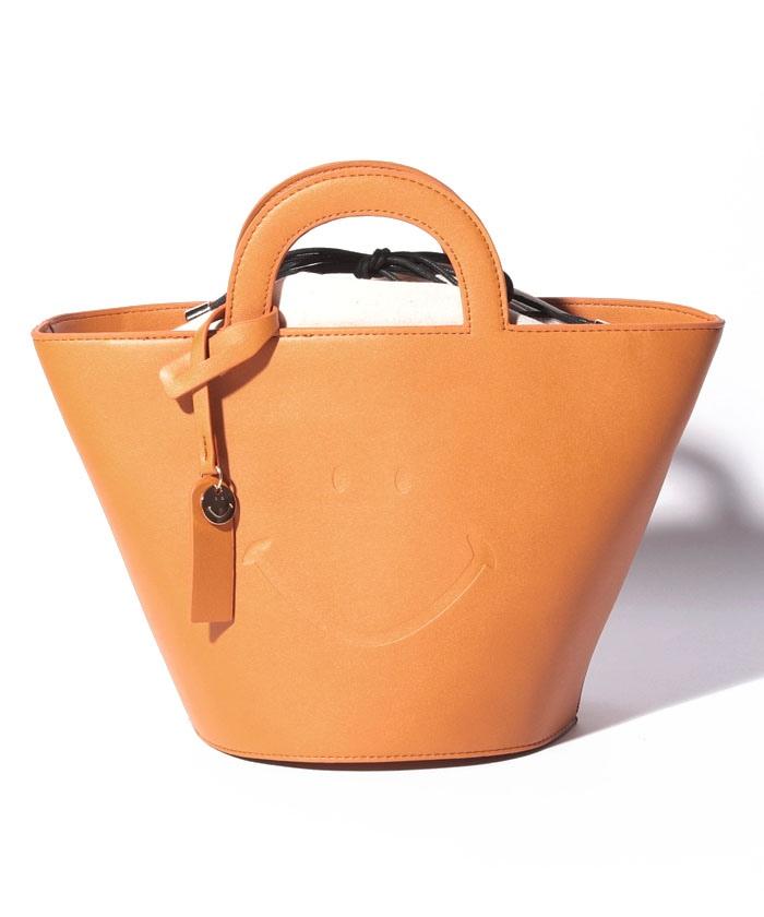 カシュカシュ cachecache / スマイルデザイン素押しバスケット型トートバッグ