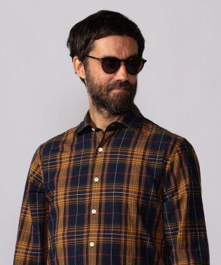 コットンリネンマドラス セミワイドカラーシャツ