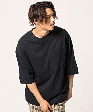 CavariA【キャバリア】ポケット付きビッグシルエットクルーネック半袖Tシャツ