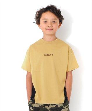 ドロップショルダー切替ロゴ半袖Tシャツ