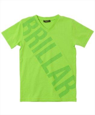 接触冷感斜めロゴVネック半袖Tシャツ