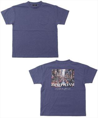 接触冷感ドロップショルダーフォトプリント半袖Tシャツ