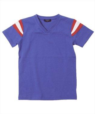 袖ラインVネック半袖Tシャツ