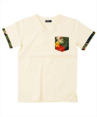 ボタニカルデザインVネック半袖Tシャツ