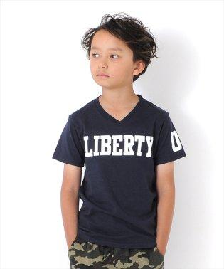 ロゴプリントVネック半袖Tシャツ