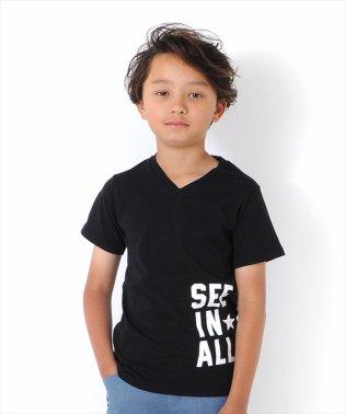 サイドロゴプリントVネック半袖Tシャツ