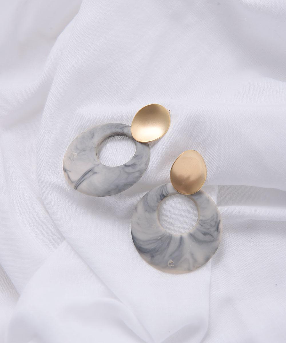 MARBLE × GOLD PIERCE & EARRING