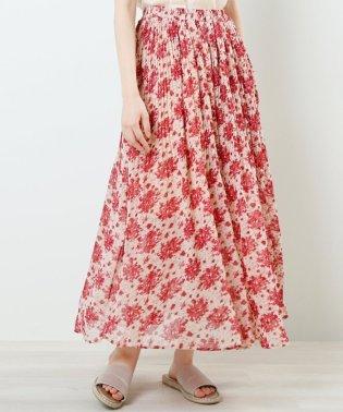 ブーケ花柄消しプリーツスカート