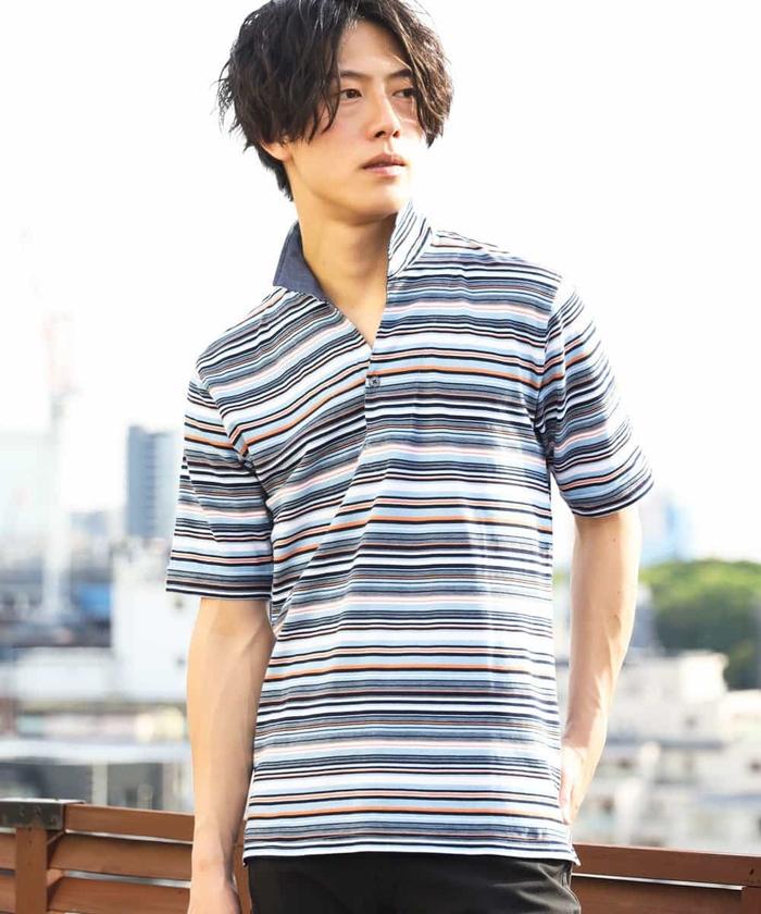 ポロシャツ(カノコマルチボーダー)
