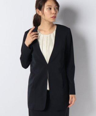 【セットアップ対応商品】ノーカラーロングジャケット