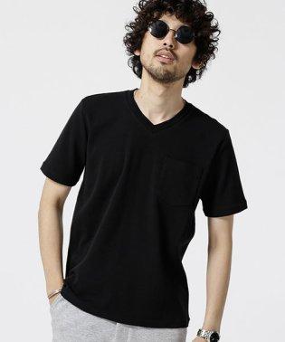 編み立てリブVネックTシャツ