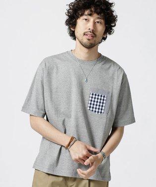 異素材パッチワークポケットTシャツ
