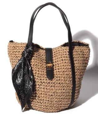カシュカシュ cachecache / WEBストア限定スカーフ付きバンブーヒネリ金具ペーパートートバッグ