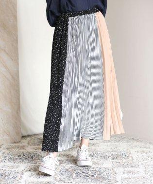 ◆切り替えデザインが華やか◆ヴィンテージブロッキングプリーツスカート