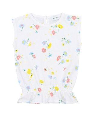 花柄天竺ノースリーブブラウジングTシャツ