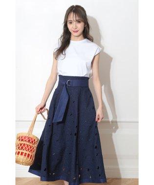 ◇【MAGASEEK/d fashion限定カラー】カットワークリネンスカートSET