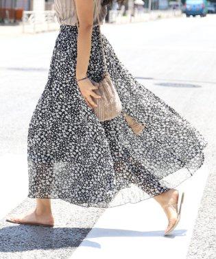 涼し気花柄シフォンロングスカート