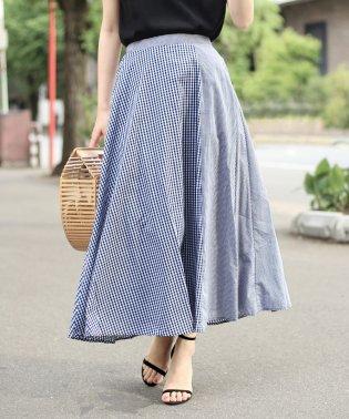 【WEB限定】ギンガム切替フレアスカート
