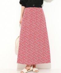 単色花柄ナローシルエットスカート