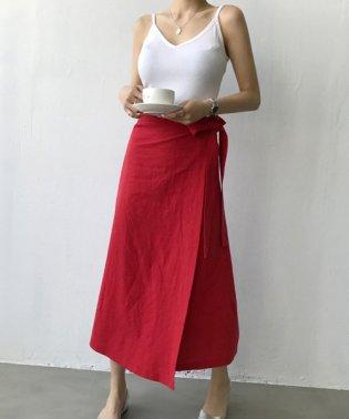 NANING9(ナンニング)リネンラップスカート-