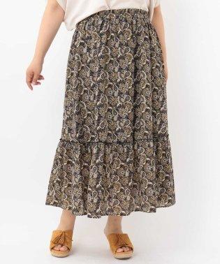 【a.v.v×eur3】【大きいサイズ】ペイスリープリントロングスカート