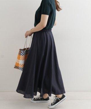リネンギャザーフレアスカート