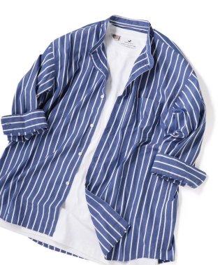 SHIPS JET BLUE: バンドカラー 7分袖シャツ