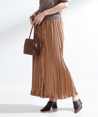 Ray BEAMS / サテン プリーツ マエボタン スカート