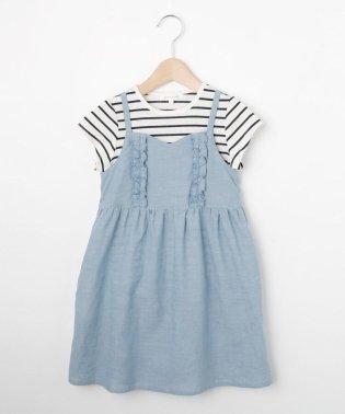 【2枚セット】【100cm~150cm】Tシャツセットキャミワンピース