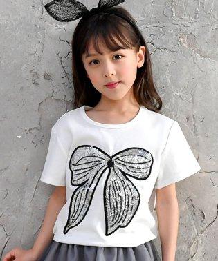スパンコールリボンTシャツ
